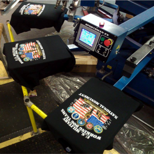 Custom Printed T-Shirts on the Screen Printing Press